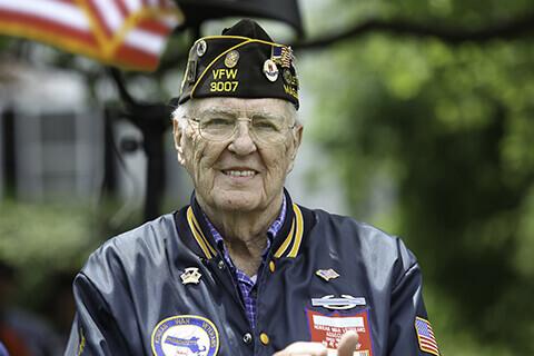 Older veteran in uniform